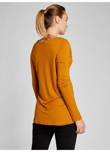 Vekem-Limited Edition V Yaka Önü Drapeli Uzun Kollu Bluz Sarı